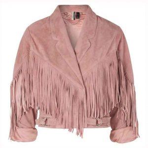Anjana Vasan TV Series We Are Lady Parts Amina Fringe Pink Suede Leather Jacket