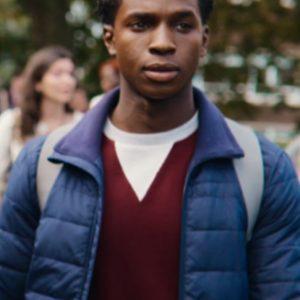 Kedar Williams-Stirling TV Series Sex Education S03 Jackson Marchetti Blue Puffer Jacket