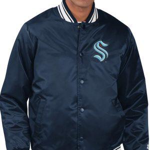 Men's-Seattle-Kraken-Starter-Navy-Jacket