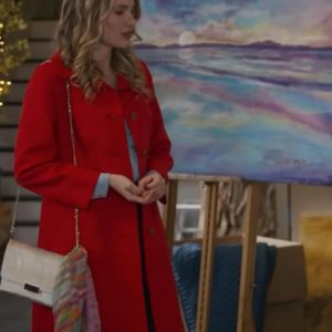 A-Bridesmaid-In-Love-2021-Tori-Anderson-Red-Trench-Coat